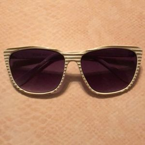 NWOT White & Gold Stripped Sunglasses